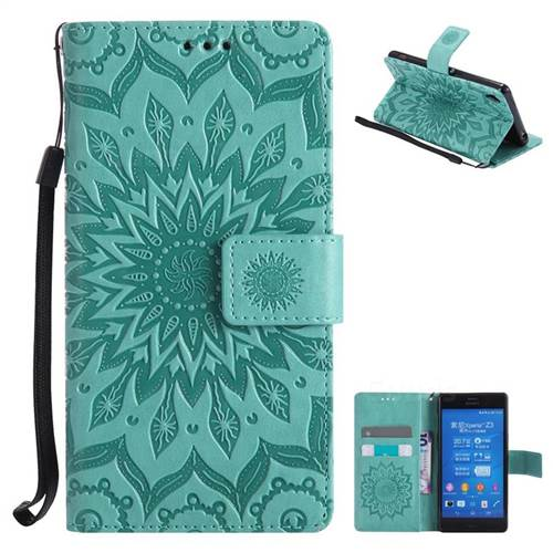 Embossing Sunflower Leather Wallet Case for Sony Xperia Z3 - Green