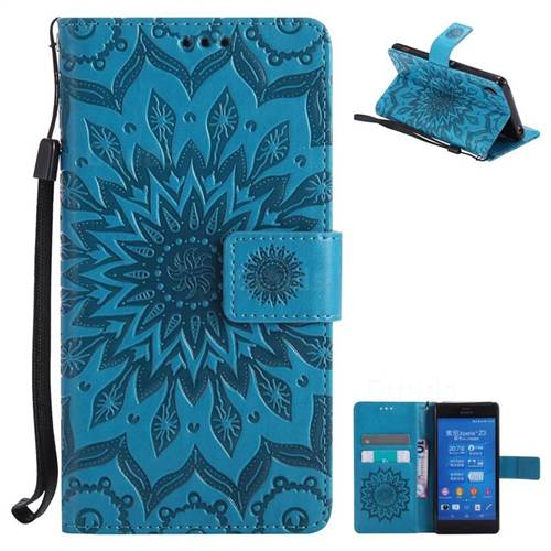 Embossing Sunflower Leather Wallet Case for Sony Xperia Z3 - Blue