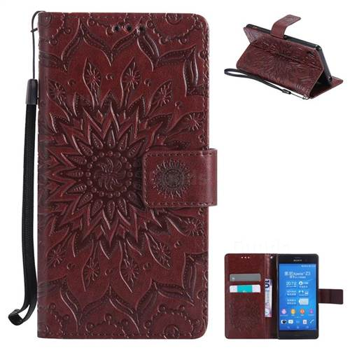 Embossing Sunflower Leather Wallet Case for Sony Xperia Z3 - Brown
