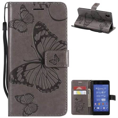 Embossing 3D Butterfly Leather Wallet Case for Sony Xperia Z3 - Gray