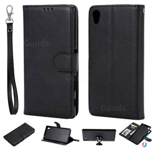 Retro Greek Detachable Magnetic PU Leather Wallet Phone Case for Sony Xperia Z3 - Black