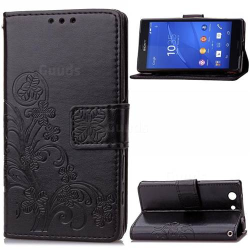 Embossing Imprint Four-Leaf Clover Leather Wallet Case for Sony Xperia Z3 Compact - Black