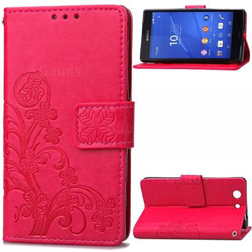 Embossing Imprint Four-Leaf Clover Leather Wallet Case for Sony Xperia Z3 Compact - Rose