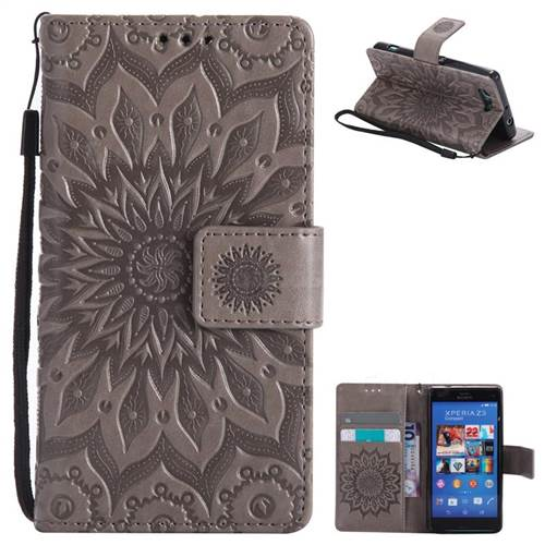 Embossing Sunflower Leather Wallet Case for Sony Xperia Z3 Compact Mini - Gray