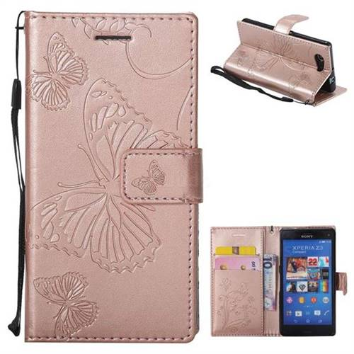 buy popular 63946 f327c Embossing 3D Butterfly Leather Wallet Case for Sony Xperia Z3 Compact Mini  - Rose Gold - Leather Case - Guuds