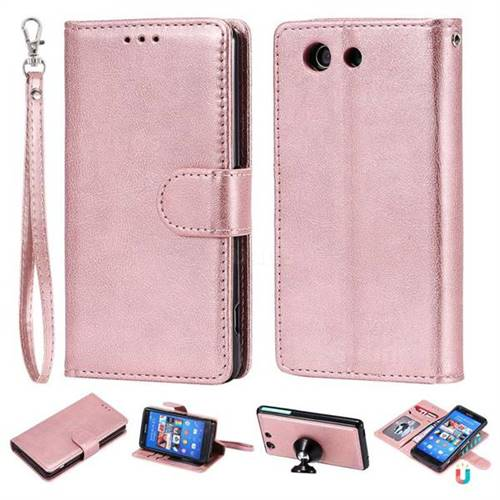on sale 4dc8d c165e Retro Greek Detachable Magnetic PU Leather Wallet Phone Case for Sony  Xperia Z3 Compact Mini - Rose Gold