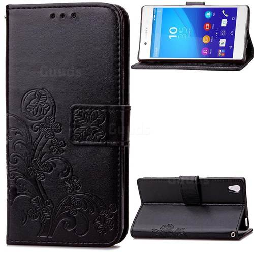 Embossing Imprint Four-Leaf Clover Leather Wallet Case for Sony Xperia Z4 Z3+ E6553 E6533 - Black