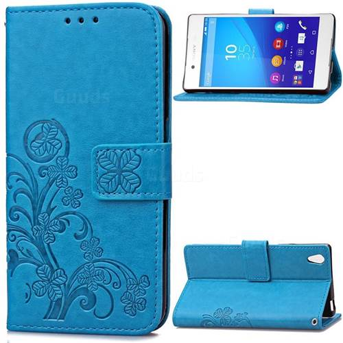 Embossing Imprint Four-Leaf Clover Leather Wallet Case for Sony Xperia Z4 Z3+ E6553 E6533 - Blue