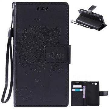 Embossing Butterfly Tree Leather Wallet Case for Sony Xperia Z4 Compact Mini - Black