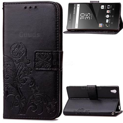 Embossing Imprint Four-Leaf Clover Leather Wallet Case for Sony Xperia Z5 / Z5 Dual - Black