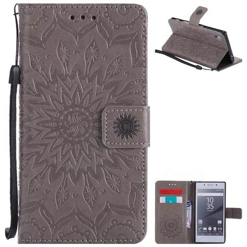 Embossing Sunflower Leather Wallet Case for Sony Xperia Z5 / Z5 Dual - Gray