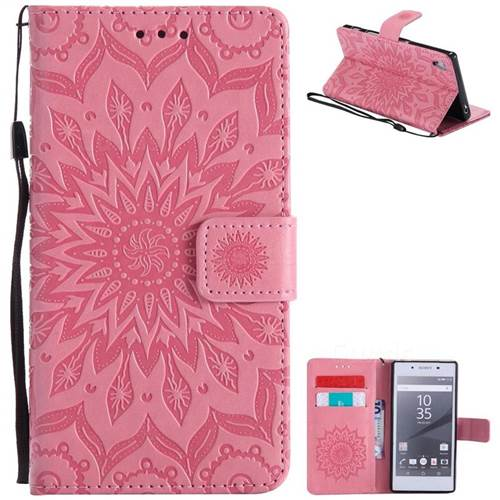Embossing Sunflower Leather Wallet Case for Sony Xperia Z5 / Z5 Dual - Pink