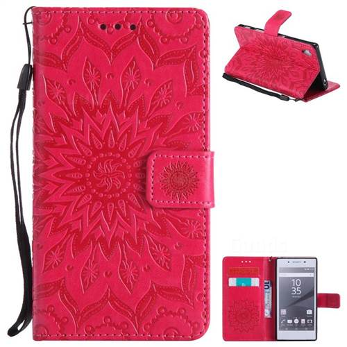 Embossing Sunflower Leather Wallet Case for Sony Xperia Z5 / Z5 Dual - Red