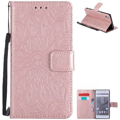 Embossing Sunflower Leather Wallet Case for Sony Xperia Z5 / Z5 Dual - Rose Gold
