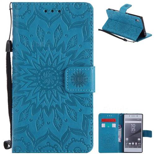 Embossing Sunflower Leather Wallet Case for Sony Xperia Z5 / Z5 Dual - Blue