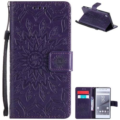 Embossing Sunflower Leather Wallet Case for Sony Xperia Z5 / Z5 Dual - Purple