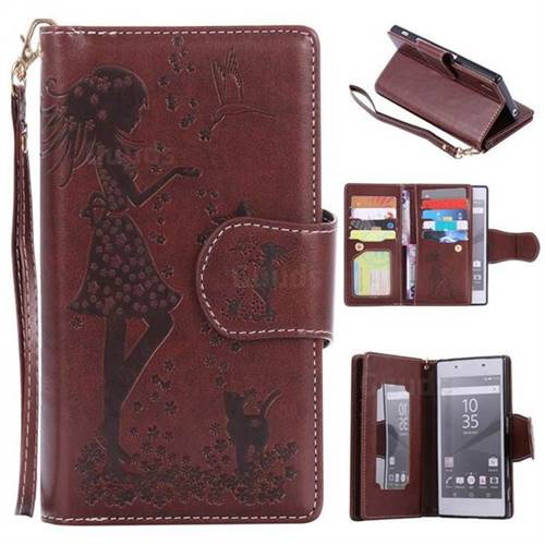 Embossing Cat Girl 9 Card Leather Wallet Case for Sony Xperia Z5 / Z5 Dual - Brown