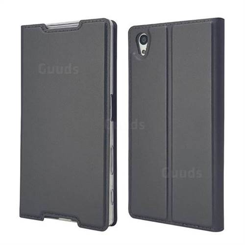 Ultra Slim Card Magnetic Automatic Suction Leather Wallet Case for Sony Xperia Z5 / Z5 Dual - Star Grey