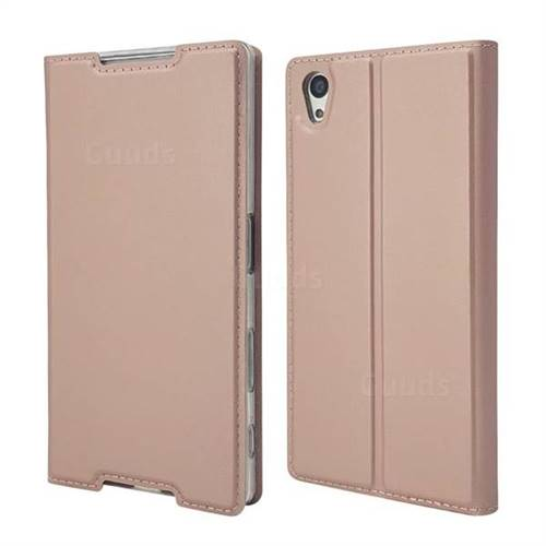 Ultra Slim Card Magnetic Automatic Suction Leather Wallet Case for Sony Xperia Z5 / Z5 Dual - Rose Gold