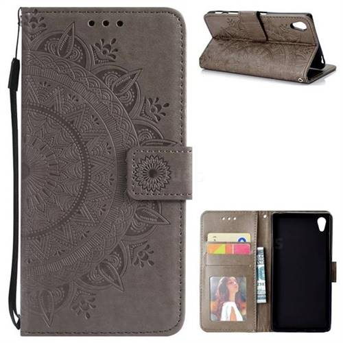 Intricate Embossing Datura Leather Wallet Case for Sony Xperia Z5 / Z5 Dual - Gray