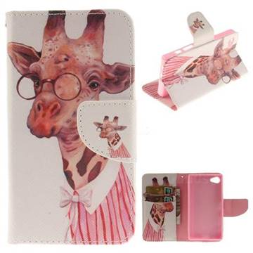Pink Giraffe PU Leather Wallet Case for Sony Xperia Z5 Compact / Z5 Mini