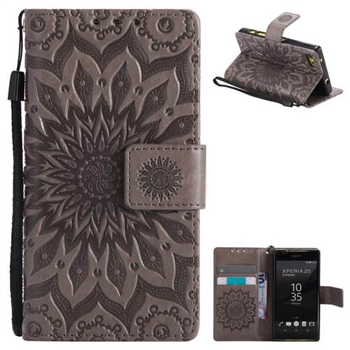 Embossing Sunflower Leather Wallet Case for Sony Xperia Z5 Compact / Z5 Mini - Gray