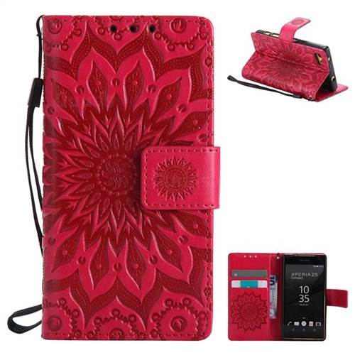 Embossing Sunflower Leather Wallet Case for Sony Xperia Z5 Compact / Z5 Mini - Red