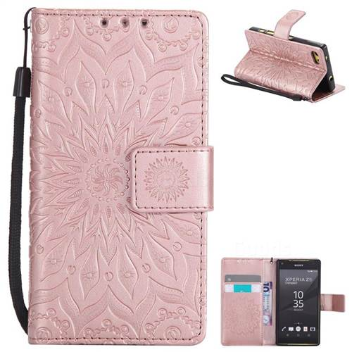 Embossing Sunflower Leather Wallet Case for Sony Xperia Z5 Compact / Z5 Mini - Rose Gold