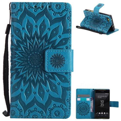 Embossing Sunflower Leather Wallet Case for Sony Xperia Z5 Compact / Z5 Mini - Blue