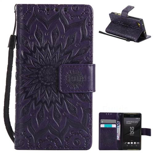Embossing Sunflower Leather Wallet Case for Sony Xperia Z5 Compact / Z5 Mini - Purple