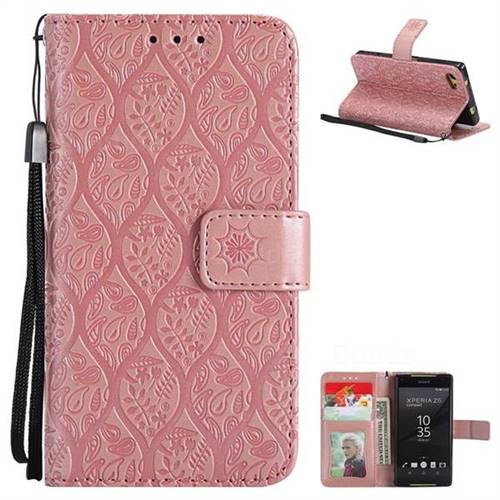 Intricate Embossing Rattan Flower Leather Wallet Case for Sony Xperia Z5 Compact / Z5 Mini - Pink