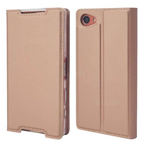 Ultra Slim Card Magnetic Automatic Suction Leather Wallet Case for Sony Xperia Z5 Compact / Z5 Mini - Rose Gold