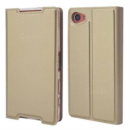Ultra Slim Card Magnetic Automatic Suction Leather Wallet Case for Sony Xperia Z5 Compact / Z5 Mini - Champagne