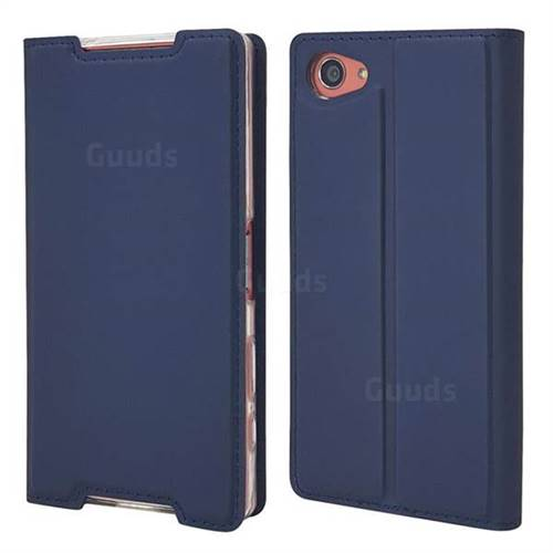 Ultra Slim Card Magnetic Automatic Suction Leather Wallet Case for Sony Xperia Z5 Compact / Z5 Mini - Royal Blue