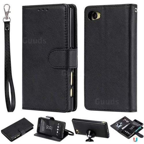 Retro Greek Detachable Magnetic PU Leather Wallet Phone Case for Sony Xperia Z5 Compact / Z5 Mini - Black