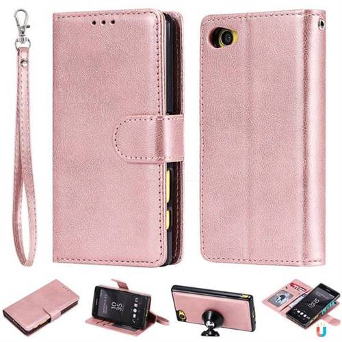 factory authentic 23301 4d7b4 Retro Greek Detachable Magnetic PU Leather Wallet Phone Case for Sony  Xperia Z5 Compact / Z5 Mini - Rose Gold
