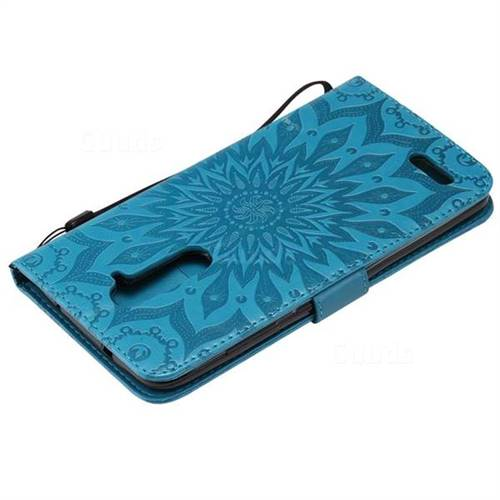 check out f8dde 54346 Embossing Sunflower Leather Wallet Case for ZTE Zmax Pro Z981 - Blue