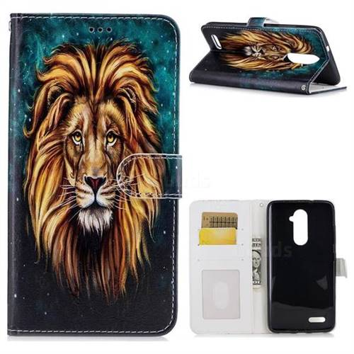 Ice Lion 3D Relief Oil PU Leather Wallet Case for ZTE Zmax Pro Z981