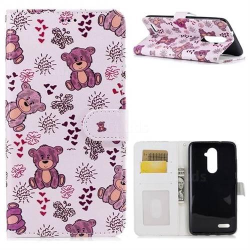 Cute Bear 3D Relief Oil PU Leather Wallet Case for ZTE Zmax Pro Z981