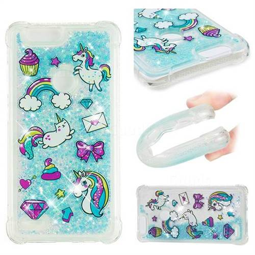 Fashion Unicorn Dynamic Liquid Glitter Sand Quicksand Star TPU Case for ZTE Blade Z Max Z982