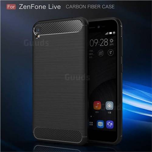 best sneakers 9d180 fd3b6 Luxury Carbon Fiber Brushed Wire Drawing Silicone TPU Back Cover for Asus  ZenFone Live (L1) ZA550KL - Black