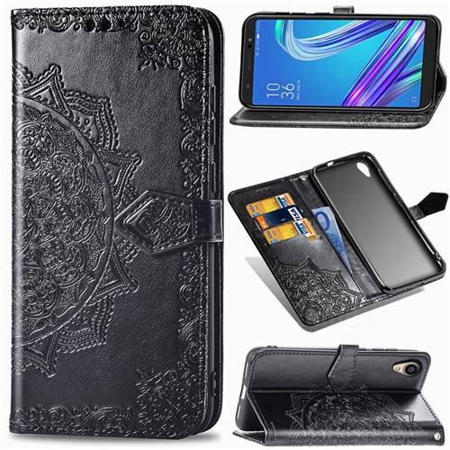 Embossing Imprint Mandala Flower Leather Wallet Case for Asus ZenFone Live (L1) ZA550KL - Black