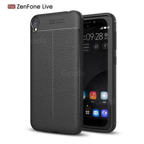 Luxury Auto Focus Litchi Texture Silicone TPU Back Cover for Asus Zenfone Live ZB501KL / Zenfone 3 Go - Black