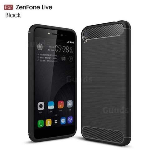 Luxury Carbon Fiber Brushed Wire Drawing Silicone TPU Back Cover for Asus Zenfone Live ZB501KL / Zenfone 3 Go - Black