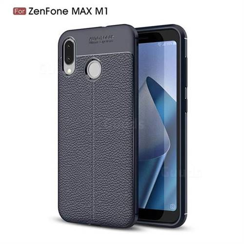 Luxury Auto Focus Litchi Texture Silicone TPU Back Cover for Asus Zenfone Max (M1) ZB555KL - Dark Blue