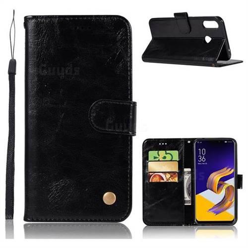 Luxury Retro Leather Wallet Case for Asus Zenfone Max (M1) ZB555KL - Black