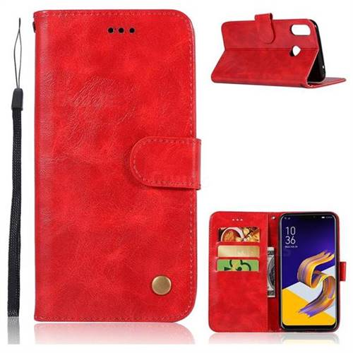 Luxury Retro Leather Wallet Case for Asus Zenfone Max (M1) ZB555KL - Red