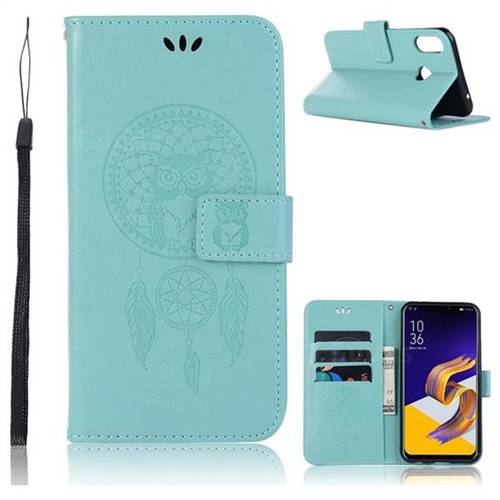 Intricate Embossing Owl Campanula Leather Wallet Case for Asus Zenfone Max (M1) ZB555KL - Green