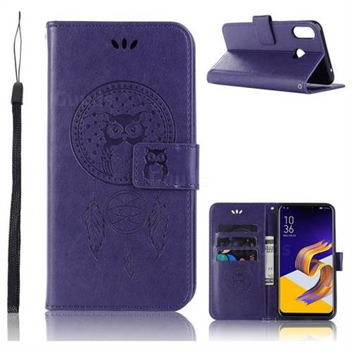 Intricate Embossing Owl Campanula Leather Wallet Case for Asus Zenfone Max (M1) ZB555KL - Purple