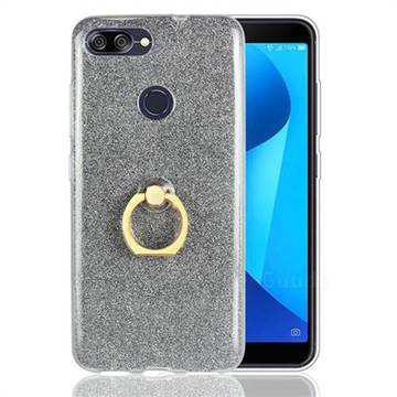 Luxury Soft TPU Glitter Back Ring Cover with 360 Rotate Finger Holder Buckle for Asus Zenfone Max Plus (M1) ZB570TL - Black